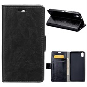 Crazy Horse PU Leather Wallet til iPhone XS Max - Black