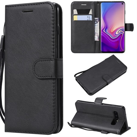 Wallet Leather Case for Samsung Galaxy S10 - Black