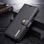 2-in-1 Split Leather Wallet for Samsung Galaxy S10 Plus - Black