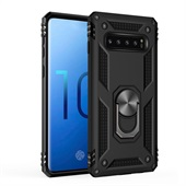 Armor Cover with Rotating Ring for Samsung Galaxy S10 - Black