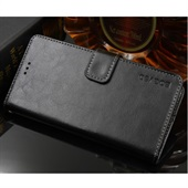 Crazy Horse PU Leather Wallet til Huawei P20 - Sort