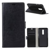 Crazy Horse PU Leather Wallet til OnePlus 6 - Sort