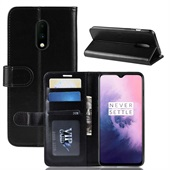 Crazy Horse Leather Wallet for OnePlus 7 - Black
