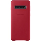 Samsung Galaxy S10 Leather Cover - Red